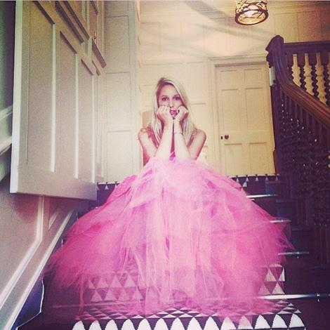 "Marie-Chantal posted this shot of her eldest daughter, Princess Maria-Olympia having a real-life princess meets Disney princess moment. ""Olympia in pink"", she wrote."