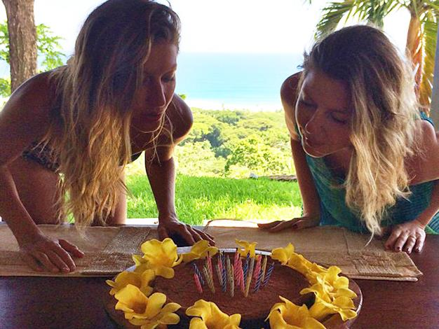 Gisele Bundchen and her twin sister Patricia on their 34th birthday.