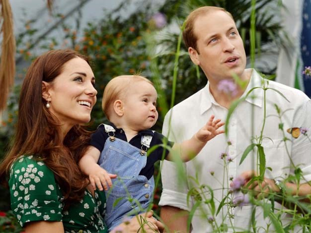 Prince William, Kate and Prince George pictured at the Natural History Museum.