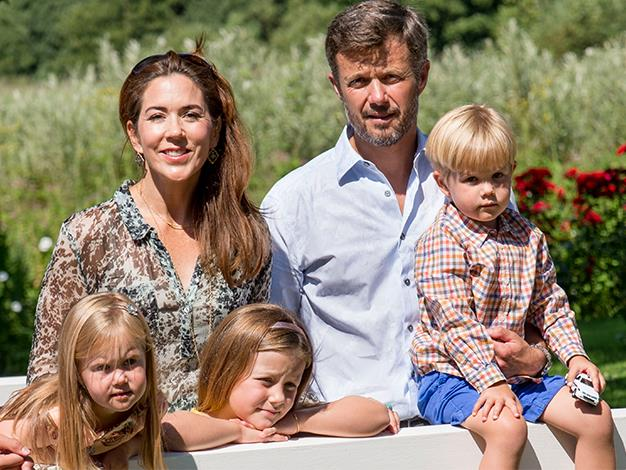 The Danish royal family pose for the media.