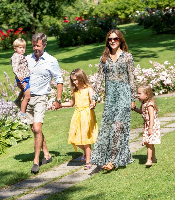 The Princess wore a sheer floral Ganni tiered maxi dress.
