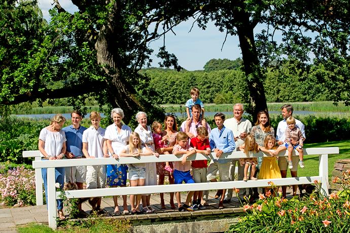 Prince Christian in the middle of the extended Danish royal family.