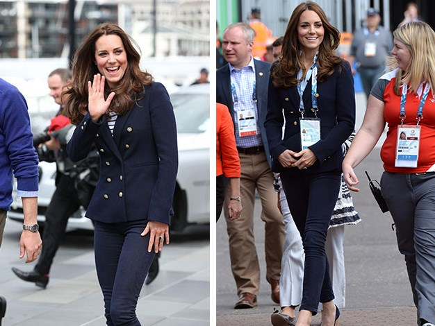 Kate wearing the Zara blazer during the Royal Tour of New Zealand and yesterday at the Commonwealth Games.
