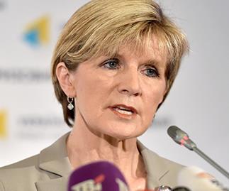 Julie Bishop speaks during a press conference in Kiev
