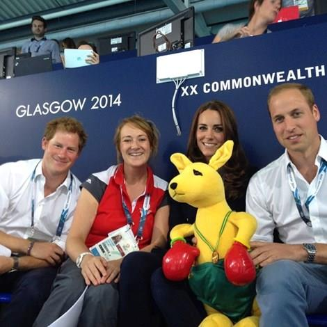 The royals posing with the kangaroo. Picture: Jess Corones
