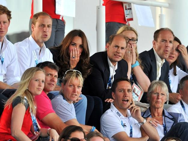 The royals on the edge of their seats.
