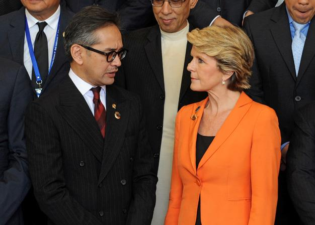 The Foreign Minister appears to be a fan of bright colours and is often seen sporting vibrant jackets like this one which she wore to the Bali Democracy Forum in Nusa Dua in 2013.