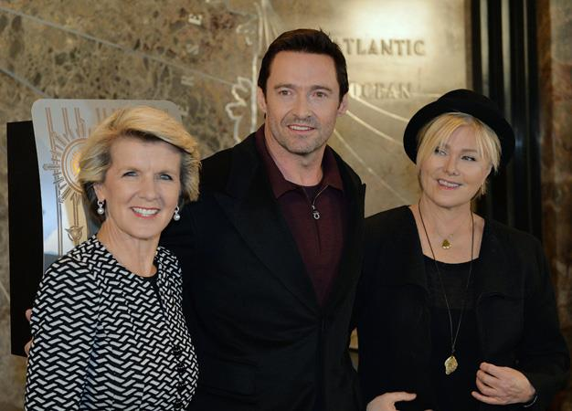 Julie Bishop gets geometric as she meets with Hollywood heavyweight Hugh Jackman and wife Deborra-lee Furness in New York in January.