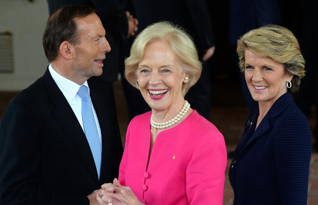 Ms Bishop joins Mr Abbott and another stylish political figure, former Governor General Quentin Bryce at Government House in Canberra for the PM's swearing in ceremony.