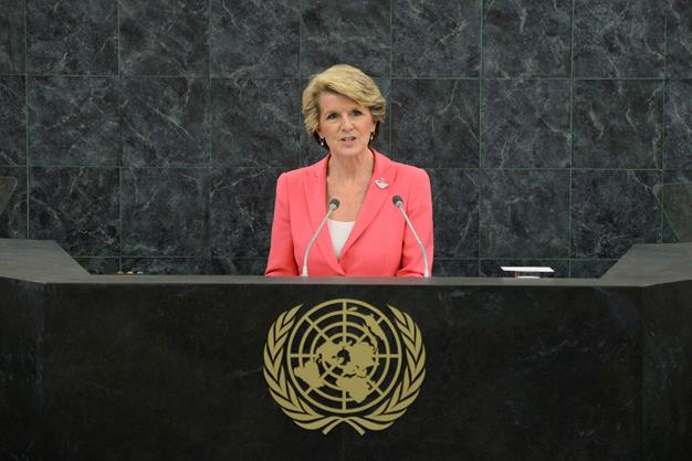 Julie Bishop again in some vibrant colour as she speaks during the 68th United Nations General Assembly at U.N. headquarters on September 2013.
