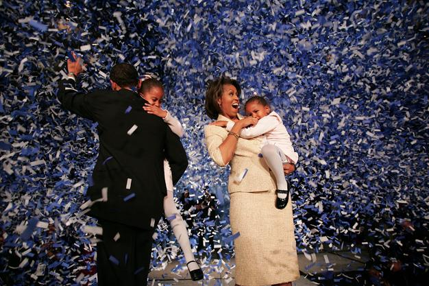 The Obama family celebrates it's patriarchs political victory over Republican rival Alan Keyes on November 2, 2004 in Chicago, Illinois