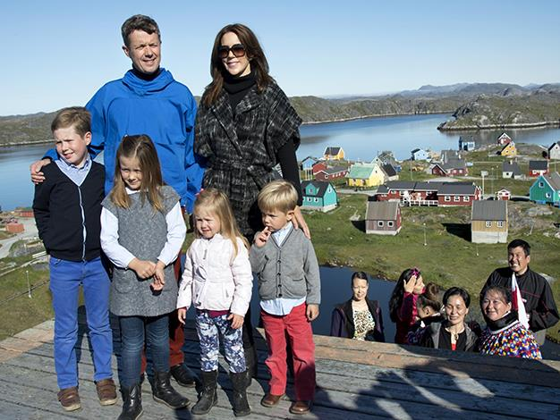 Prince Frederik and Princess Mary with Prince Christian, Princess Isabella and Princess Josephine and Prince Vincent at the viewpoint Telecommunications house in Qeqertarsuatsiaat, Greenland.