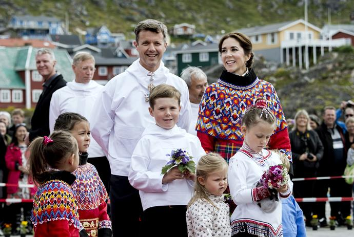 The royal family, in national dress, were welcomed by locals in Qaqortoq, Greenland.