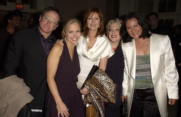 Robin Williams with other celebrity heavyweights Katie Couric, Susan Sarandon, Bette Midler and Marsha Williams.