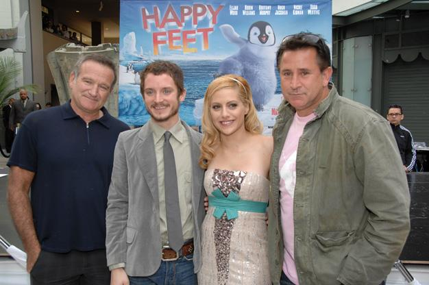 At the premiere of *Happy Feet* with Elijah Wood, Anthony LaPaglia and the late Brittany Murphy.