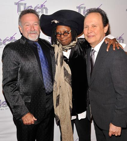 Robin Williams with fellow comedians Whoopi Goldberg and Billy Crystal.