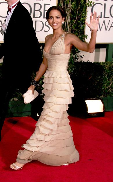 Halle Berry pushed the fashion envelope with this asymmetrical chiffon Valentino dress at the 62nd Annual Golden Globe Awards in 2005.