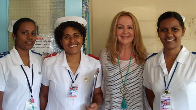Lily DeSantis with the nurses at Lautoka Hospital on her visit in June.