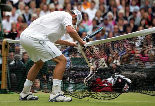 Just before losing the 2004 Wimbledon Championships to Roger Federer Andy Roddick infamously shook the net out of frustration.