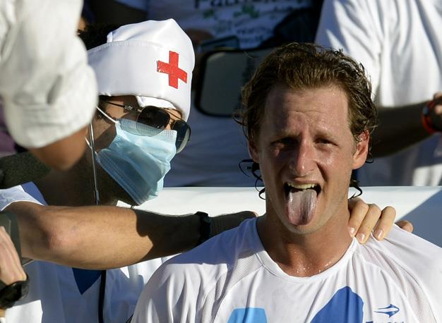 Argentinian David Nalbandian's fiery temper got the best of him at Queens in 2012 when he was ejected from the court after kicking an advertising board that struck a line judge's shin and resulted in a nasty gash. Nalbandian was fined £8,000 and docked 150 ranking points for the outburst.
