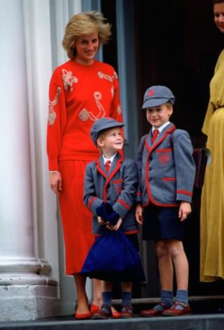 Diana and her boys on Harry's first day of nursery school.