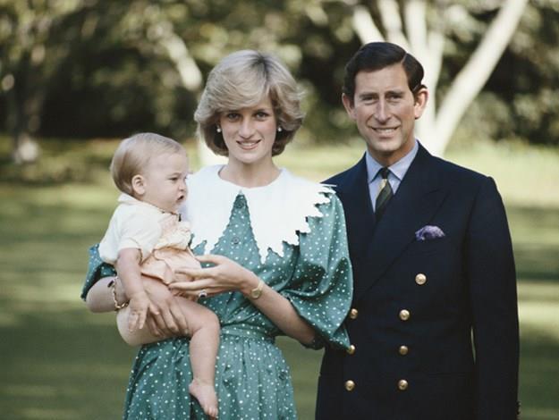 Charles, Diana and baby William at Kensington Palace.