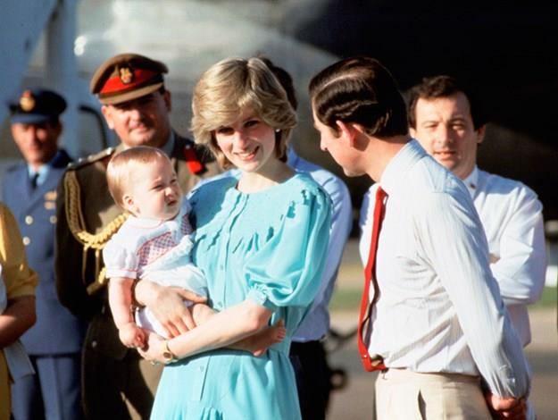 Charles, Diana and baby William.