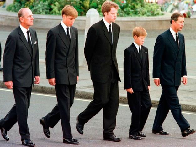 Philip, William, Earl Spencer, Harry and Charles following Diana's coffin.