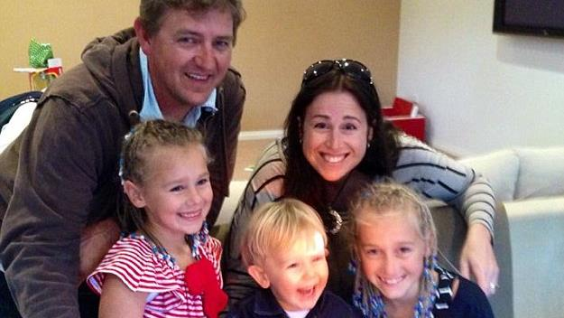 The Lever family with Lachlan in the middle for his second birthday.