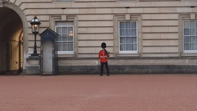 Buckingham Palace guard dances on duty