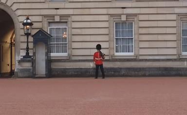Buckingham Palace guard dances on duty