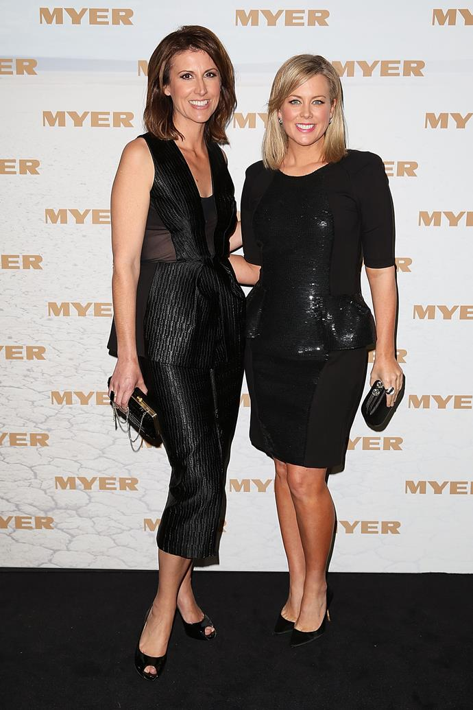 Natalie Barr and Samantha Armytage at the Myer Spring/Summer 2014 show.