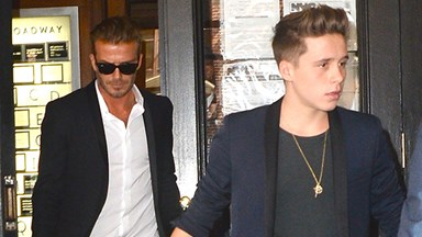 David Beckham and Brooklyn Beckham front row at NYFW