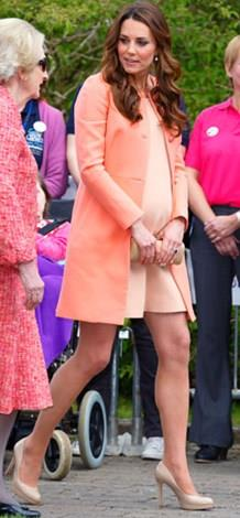The Duchess' baby bump popped in the last few weeks of her pregnancy.