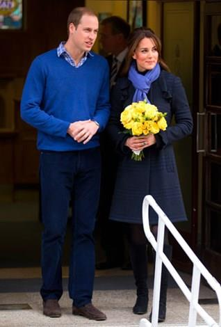Kate leaving hospital after her treatment for morning sickness in December 2012.