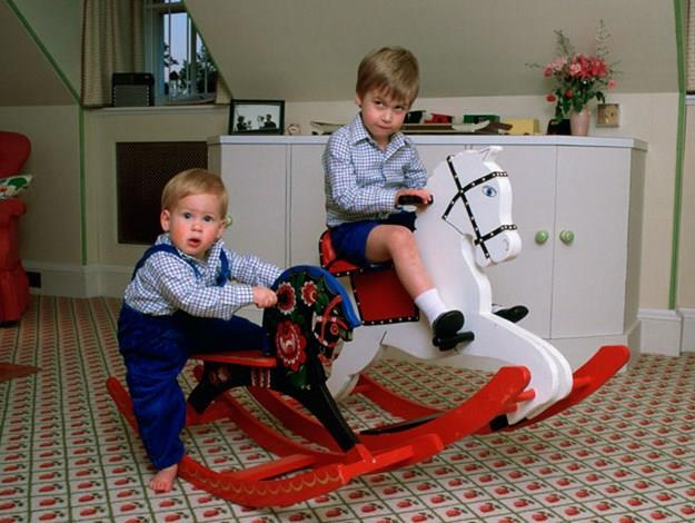 Prince William and Prince Harry in their playroom in London's Kensington Palace in 1985.