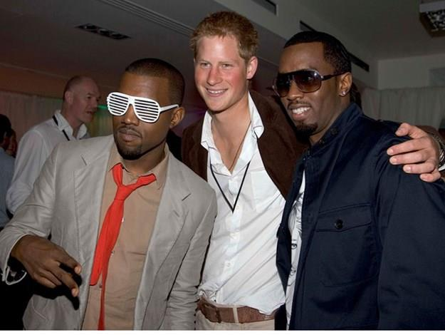Harry with Kanye West and P Diddy after the Concert for Diana in 2007.