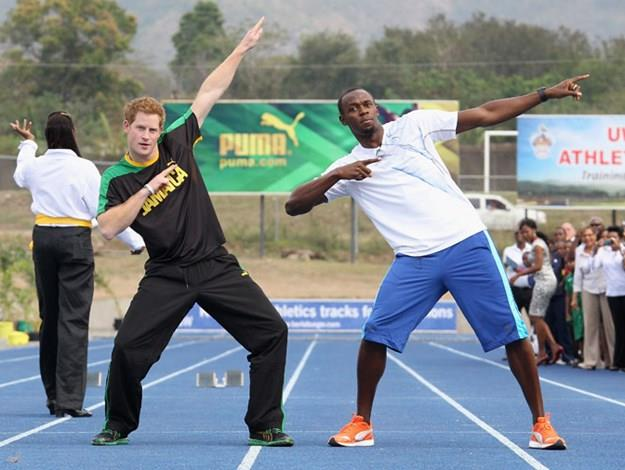 Harry with Usain Bolt.