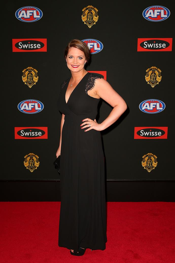 Kirsty Goldstein, partner of Todd Goldstein of the North Melbourne Kangaroos, attends the 2014 Brownlow Medal at Crown Palladium.