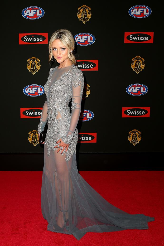 Jessie Habermann, partner of Marc Murphy of the Carlton Blues, attends the 2014 Brownlow Medal.