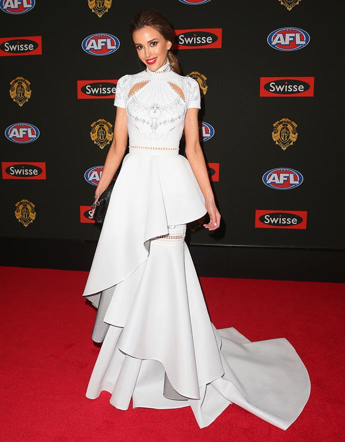 Rebecca Judd, wife of Chris Judd, dressed in J'Aton.