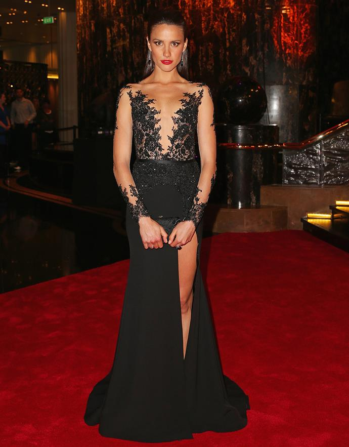 Rachael Finch attends the 2014 Brownlow Medal in Paolo Sebastian.