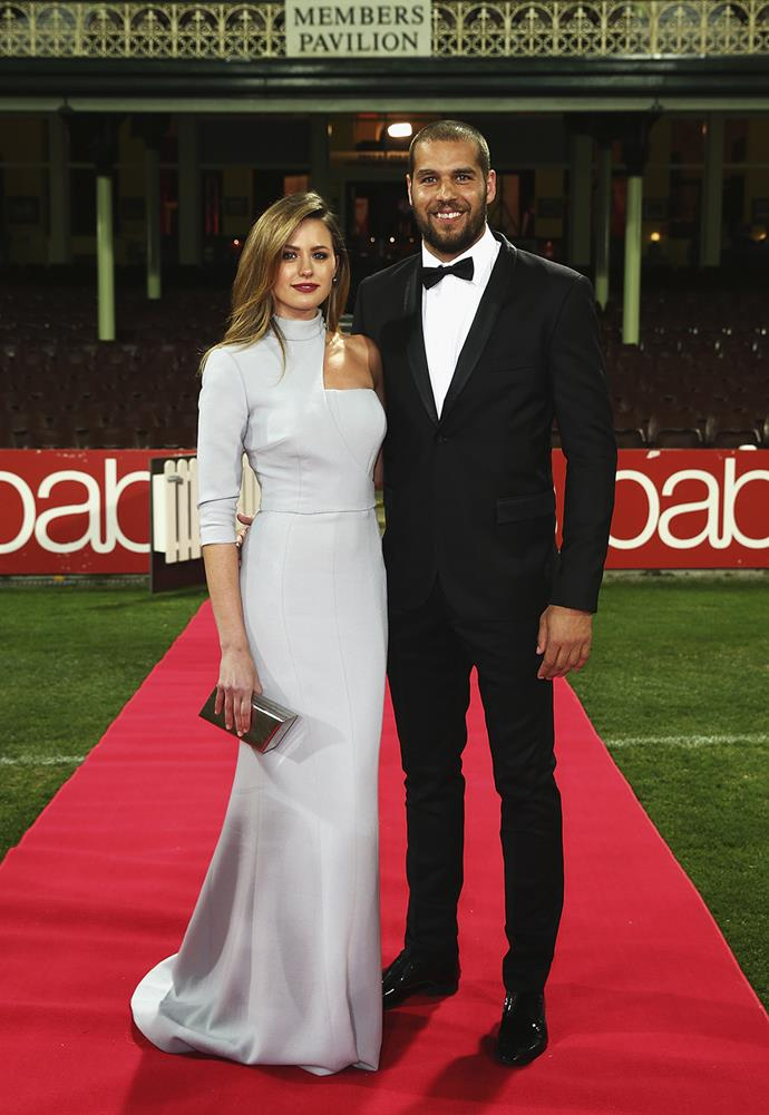 Lance Franklin and partner Jesinta Campbell, dressed by Steven Khalil, at the 2014 Brownlow Medal.