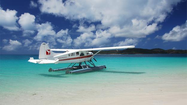 An Air Whitsunday plane on Whitehaven Beach.