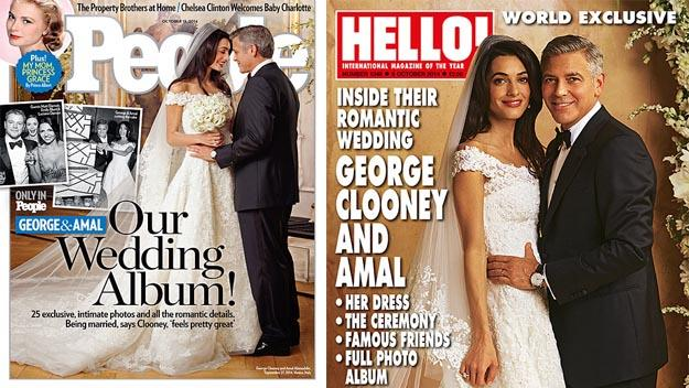 Amal Alamuddin and George Clooney on the cover of People and Hello! magazines.