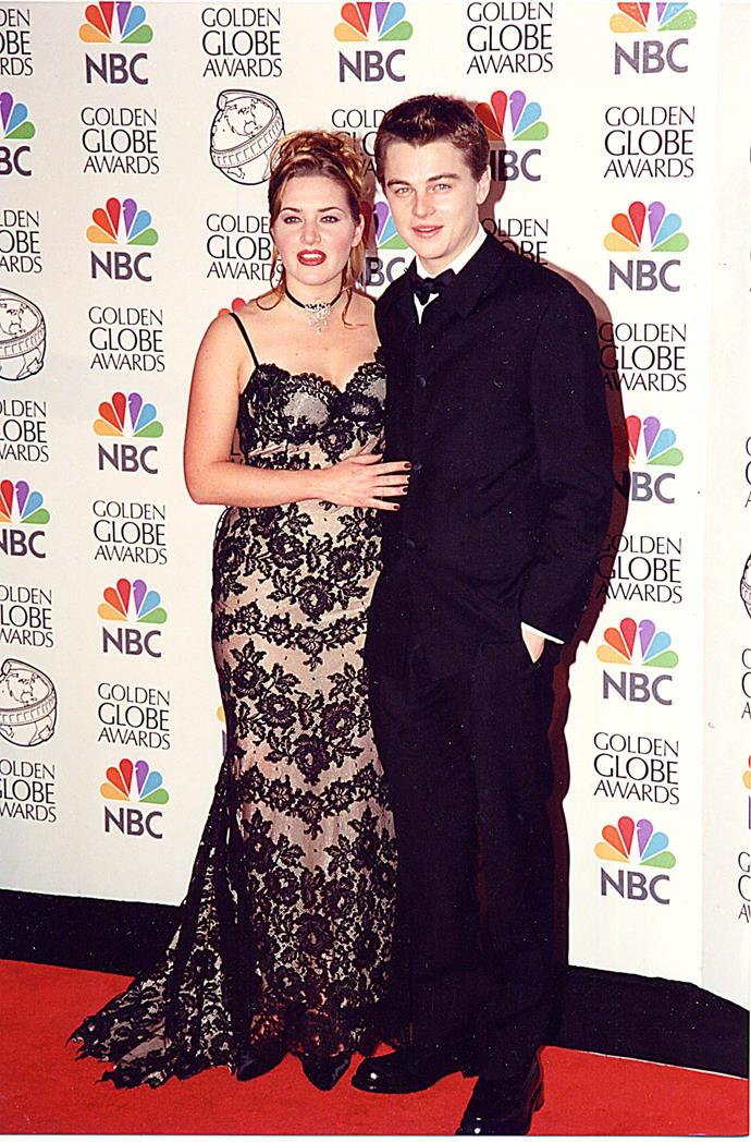 Kate Winslet and Leonardo DiCaprio at the Beverly Hilton Hotel in Beverly Hills, California in 1998.