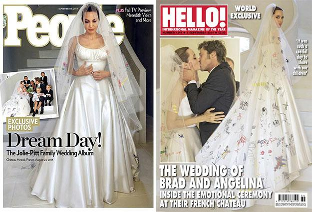 Angelina Jolie and Brad Pitt's wedding day appeared on the covers of Hello and People magazines.