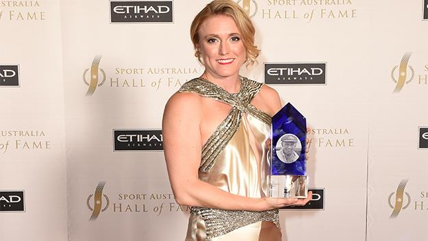 Olympian Sally Pearson with her awardfor Australia's most inspirational athlete