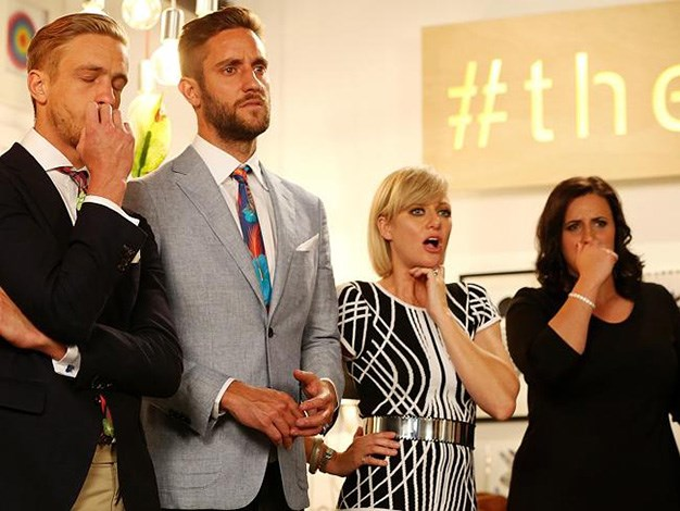 The Block's winners, Simon and Shannon stood with host, Shelley Craft and fellow contestant Jenna to watch the properties go under the hammer. PHOTO: Channel 9.