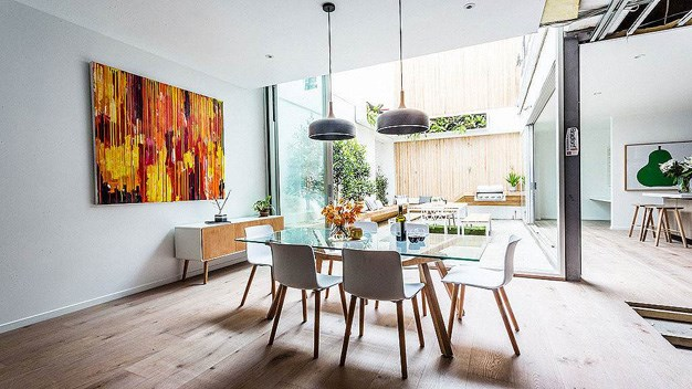 Chris and Jenna's living room space from the sixth house that all the couples contributed to. The couple took home a $300,000 profit for their property which had a reserve price of $1.5 million. PHOTO: Channel 9.